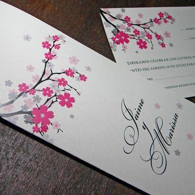 Fuschia and white wedding invitations