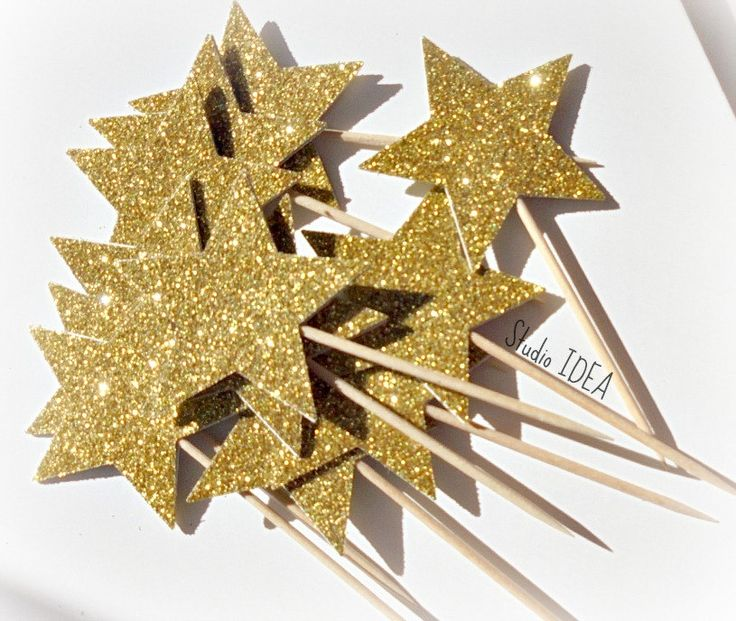 12 Glitter Gold Star double-sided  Cupcake Toppers, Food Picks - Set of 12 pcs - pinned by pin4etsy.com