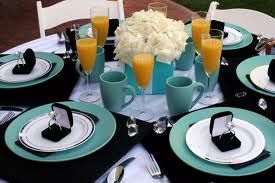 Breakfast at Tiffany  centerpieces and flower arrangements table setting