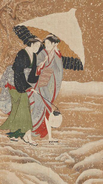 """Two girls under umbrella in snowstorm. Painting. About 1800, Japan, by artist Kitagawa Utamaro. Gift of Charles Lang Freer . Freer Gallery of Art and Arthur M. Sackler Gallery """