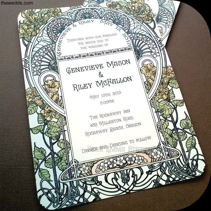 time wedding invitatiowording%0A Gatsby Garden Wedding Invitations  Art Nouveau Art Deco  Invitation and  Reply cards  Sample
