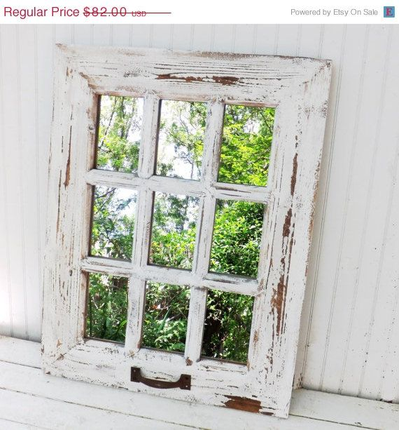 Rustic Farmhouse Window Mirror / Window Pane Mirror / Shabby Chic Mirror / Large Wall Mirror / Vintage Style