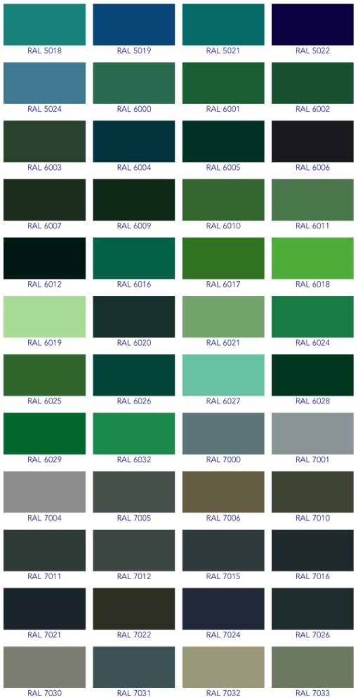 ral colour guide green guide