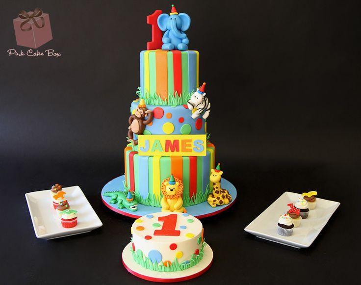 James's 1st Birthday Dessert Table by Pink Cake Box