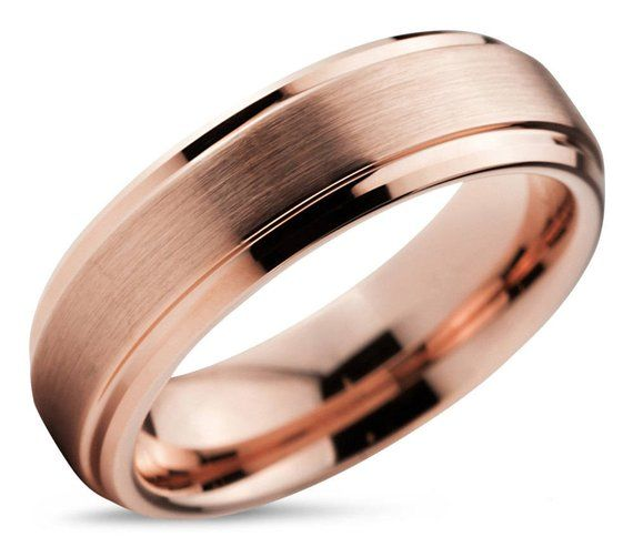 Tungsten Ring Rose Gold 18k Mens Wedding Band Wedding Ring 10mm 8mm 6mm 4mm Engagement Ring Promise Rings For Men Rings For Women Rose Gold Mens Wedding Band Silver Wedding Bands