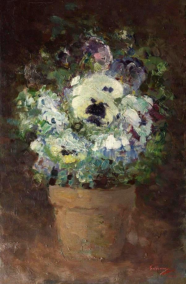 Nicolae Grigorescu (Romanian, 1838-1907) Panseluțe (Pansies), 1878. Oil on canvas.