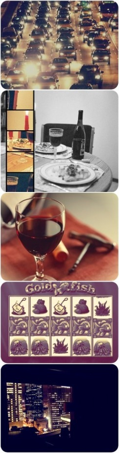 Traffic jam, salmon with salsa, red wine, goldfish slot and good night