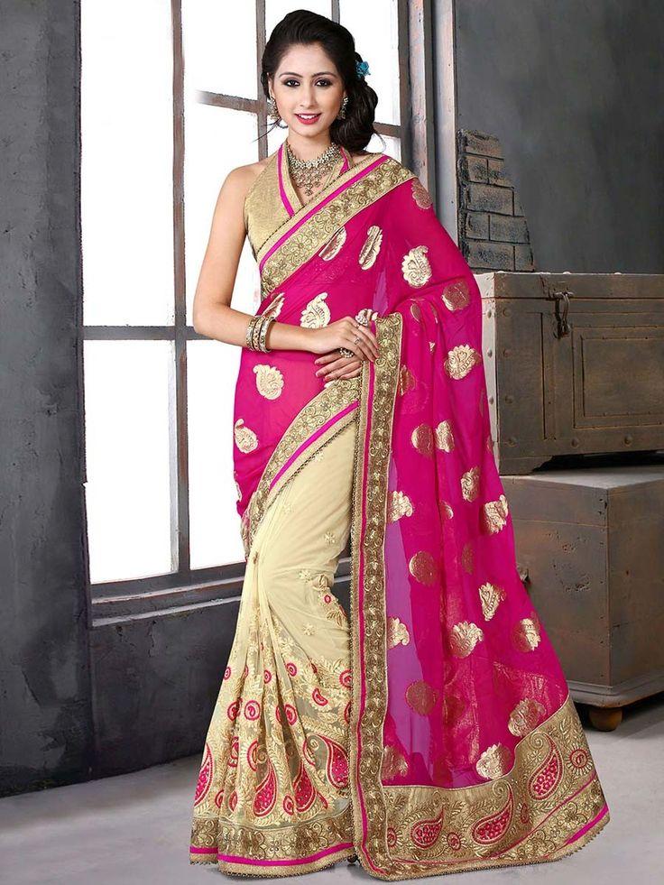 Observable beige, pink color net, viscose jacquard saree with resham, zari, kundan work. Item Code : SAY8904C www.bharatplaza.com/new-arrivals/sarees.html