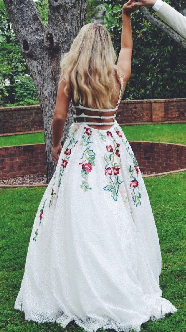 b1d1f6ab3495e Princess V Neck Floral Embroidery Long Prom Dress in 2019