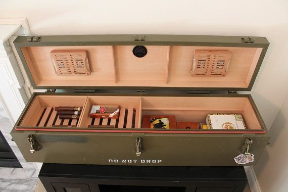 "Custom cigar humidors built from repurposed ""surplus"" military ammo cans, shipping crates and more"