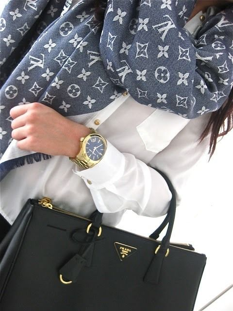 LifeisVeryBeautiful. Louis Vuitton scarf and black Prada Saffiano Lux tote.