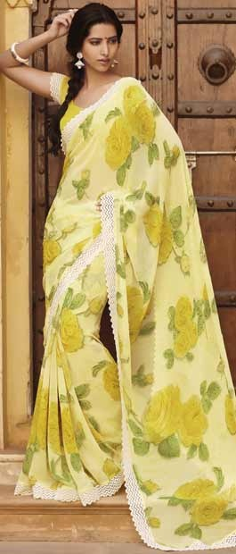 Cream and Lemon #Yellow Faux #Georgette #Saree With #Blouse @ $46.99 | Shop Here: http://www.utsavfashion.com/store/sarees-large.aspx?icode=sts1888