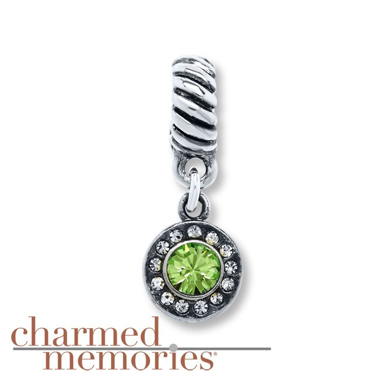 Charmed Memories Light Green Crystal Sterling Silver Charm KDbHw