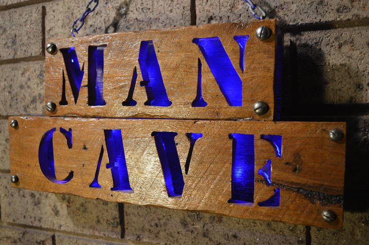 Upcycled MAN CAVE Wood Sign with Blue LED Back Light by Green Heart Projects #mancavesign #mancave #mancavedecor #mancavewoodsign
