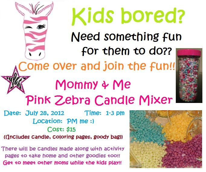 Contact me to host a Mommy & Me Pink Zebra Candle Mixer!