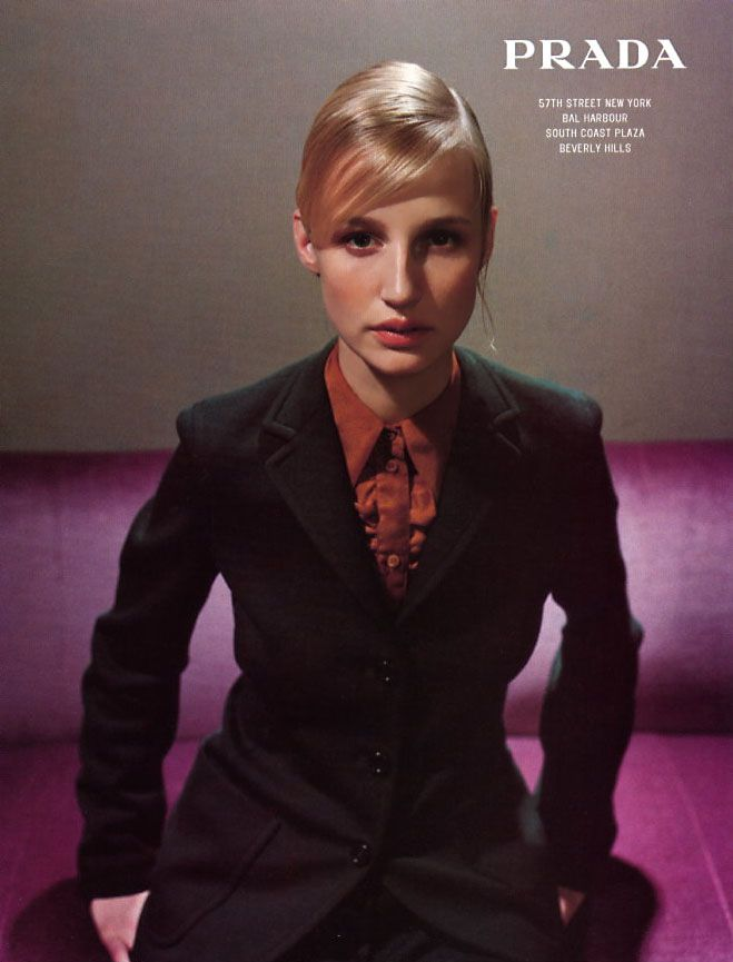 Esther de Jong by Glen Luchford for PRADA fw 1996 | PRADA and miu miu introduced gray as the new color, inspired by English school uniforms in the 1996 fall collections.