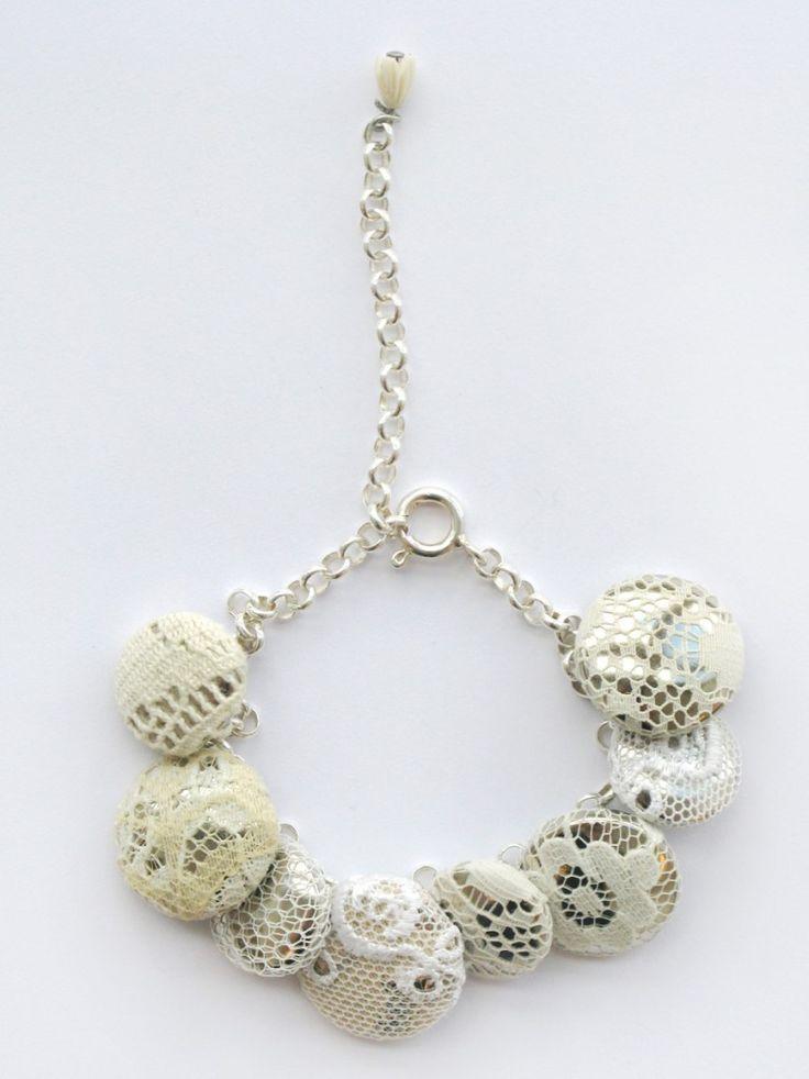 wedding lace button bracelet- great idea