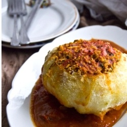 Stuffed cabbage head..must try this I love cabbage