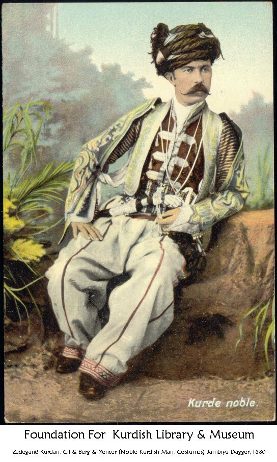Well-to-do gentleman in festive outfit.  A Kurdish  'Ağa' (rural nobleman-landowner), Eastern-Anatolia (Van or Bitlis?).  Late-Ottoman era, 1880-1900.   A photograph of Abdullah Frères, in Istanbul.