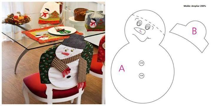Cubre espaldares para sillas de comedor, individuales my panera navideños.