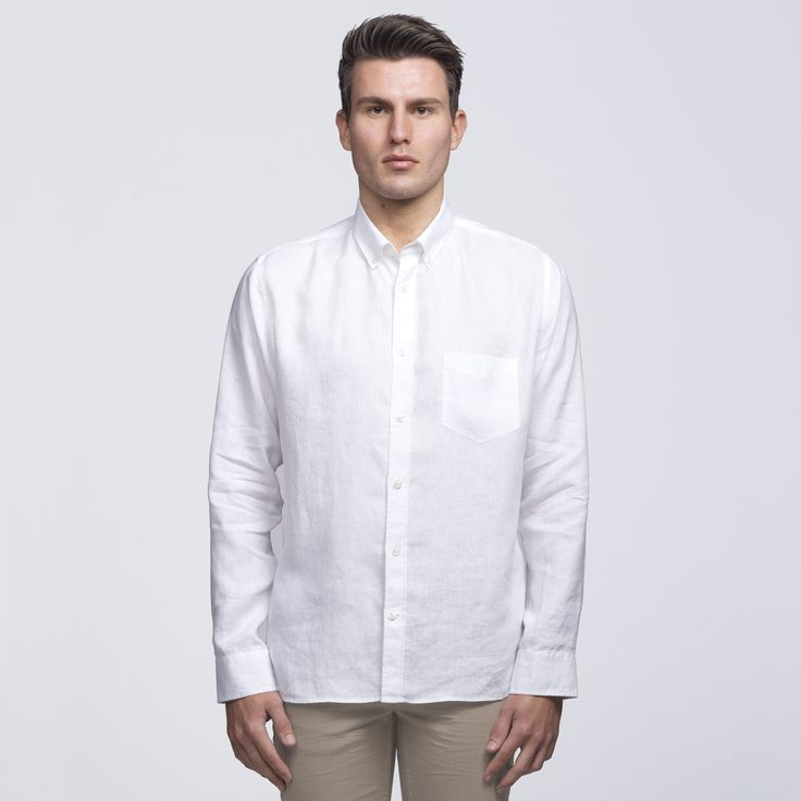 Mens White Linen Shirt | smpli - 2 Colours