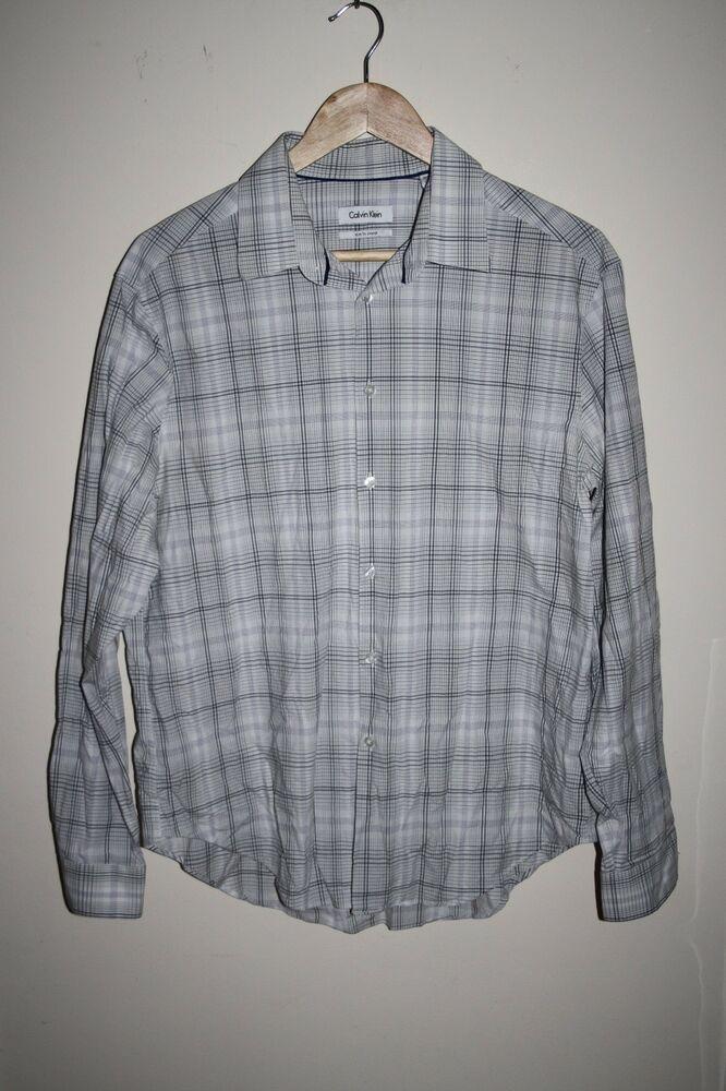 1c0feee3c Calvin Klein Slim Fit Designer Men s Shirt Checked Rich Cotton Casual 16