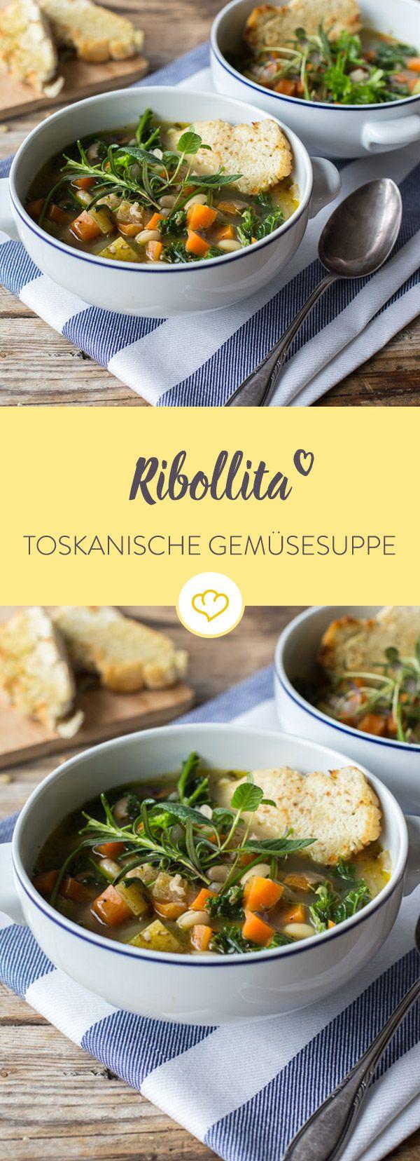 Rustikale Gemüsesuppe auf italienische Art: Pflaumentomaten, Wurzelgemüse und viele Kräuter wärmen deinen Körper und erfreuen die Geschmacksknospen