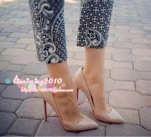 Европе и Pigalle ню цвет на красный высокие каблуки, лакированная кожа указал обувь мелкой рот тонкий каблук туфли свадебные туфли свадебные туфли - Taobao