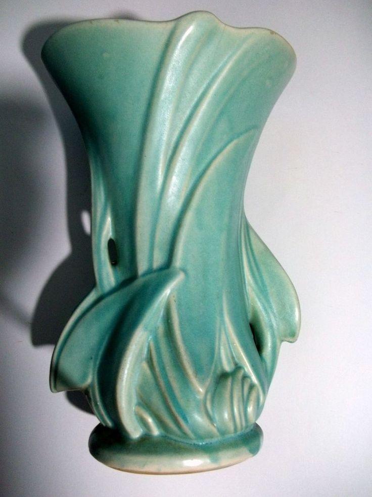 Very Large Vintage Mid Century 1942 Mccoy Aqua Matte Art