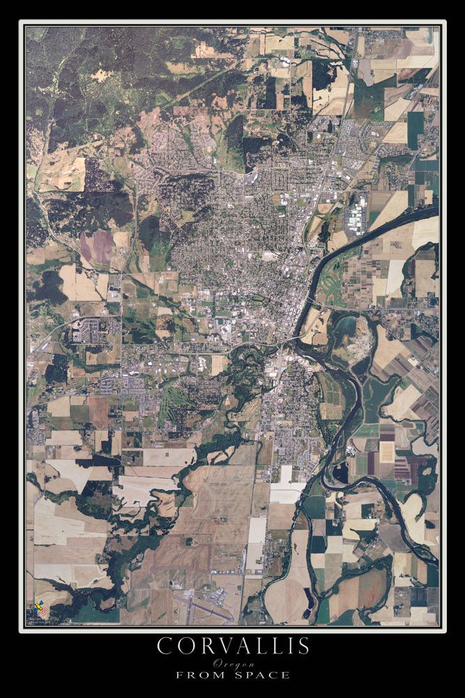Corvallis Oregon From Space Satellite Art Poster