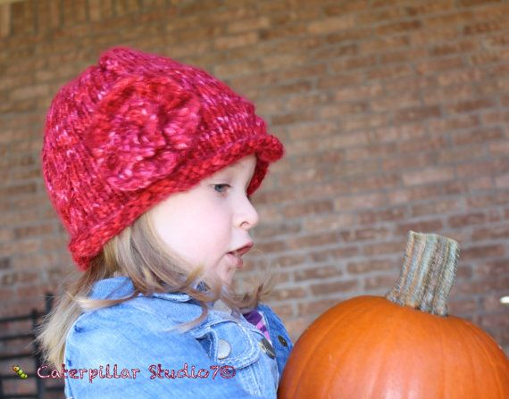 Hand  Knitted Toddler Girl Beanie Hat with by CaterpillarStudio7