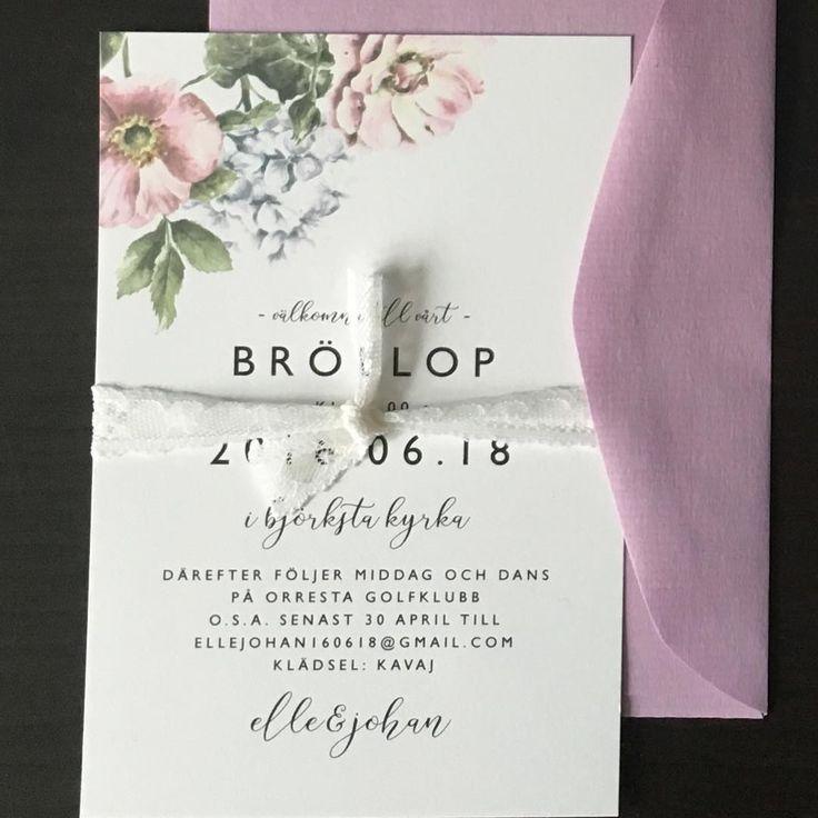 #inbjudningskort #inbjudan #bröllopsinbjudan #pioner #hortensia #rosor #bröllopskort