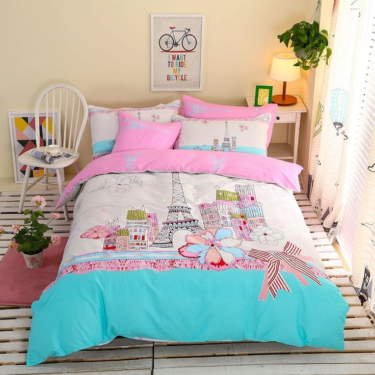 Aqua Pink and White Eiffel Tower Print Paris City Scene French style 100% Cotton Girls Twin, Full Size Bedding Sets