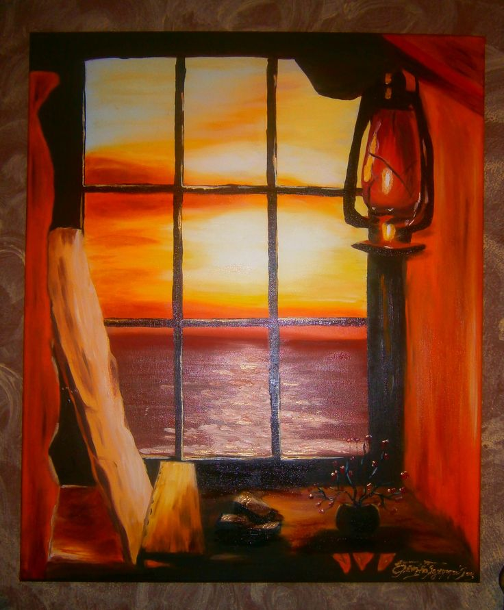 Window view.. oil painting