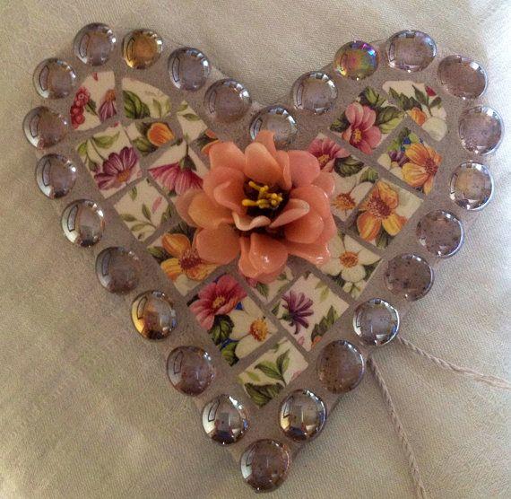 Mosaic heart wall hanging  Vintage by BrokenArtz on Etsy, $28.00