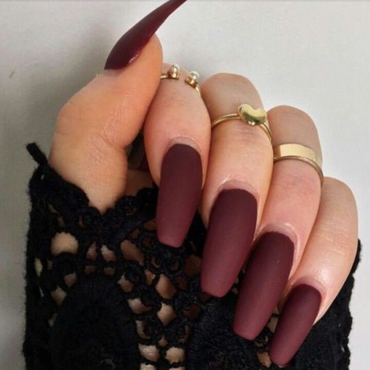 Matte Dark Red Squoval Acrylic Nails