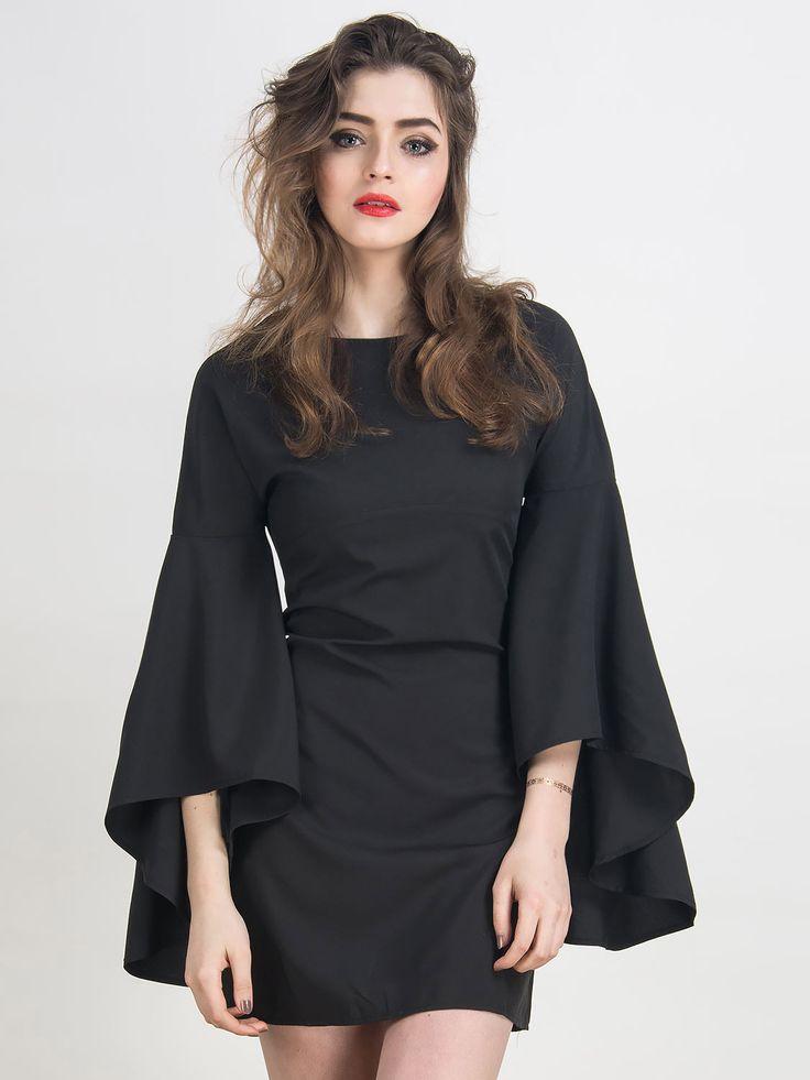 Black Bell Sleeves A-line Mini Dress