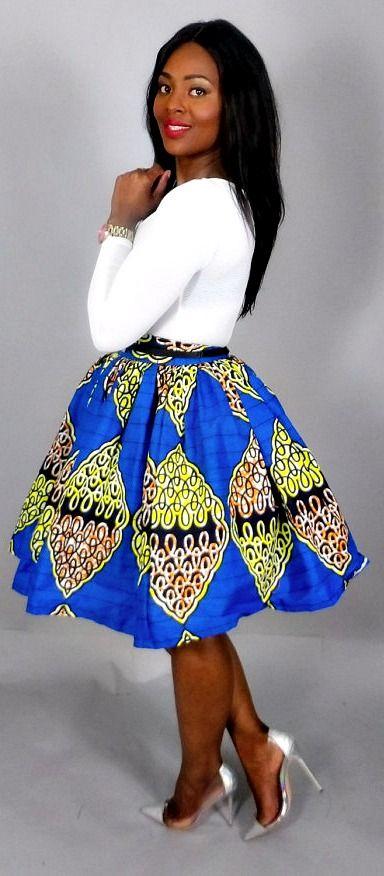 "Blue African print handmade mini skirt. Full Mini Skirt w/ Pockets and 2.5"" waist band .100% super Wax print.   Kitenge   Dashiki   African print dress   African fashion   African women dresses   African prints   Nigerian style   Ghanaian fashion   Senegal fashion   Kenya fashion   Nigerian fashion   cute summer dress (affiliate)"