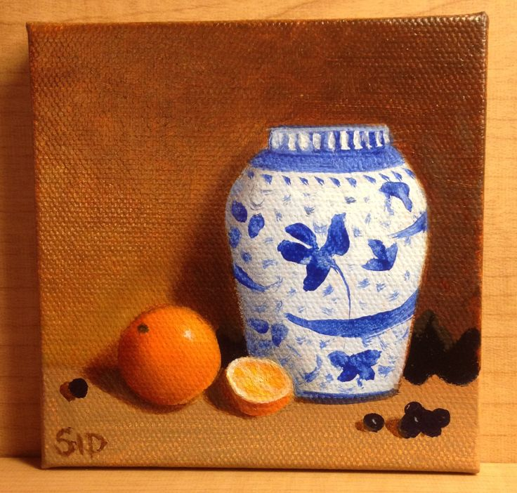 Ginger Jar Miniature Oil Painting Still Life Chinese Ceramic White Blue Oranges Grapes Table Decoration Collectible Home Decor Accessory by SidBranhamFineArts on Etsy