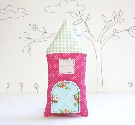 Tooth Fairy Pillow House Pillow  Pink  Polka Dot Girls Children Stuffed Toy Scret  Door Keepsake