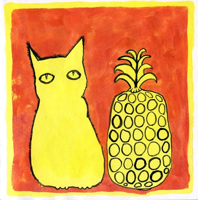 """I call it """"cat with pineapple"""", because it's a cat, with a pineapple."""