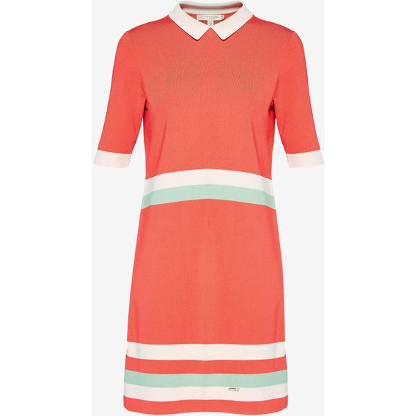 Colour-block knitted dress (600 BRL) ❤ liked on Polyvore featuring dresses, red dress, colorblocked dress, red color block dress, ted baker dresses and short-sleeve dresses