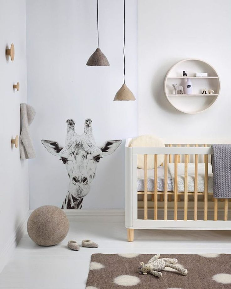 Modern Minimalist Neutral Nursery Giraffe Wall Decal