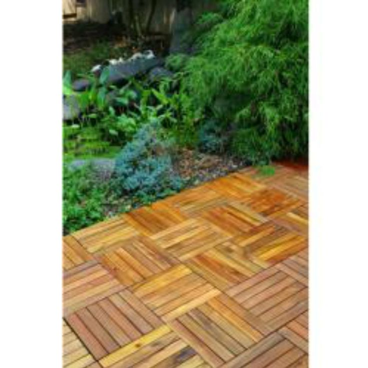 Outdoor Wood Deck Tiles Patio Snap Together Interlocking Decking Tile 12 X  12 #Unbranded
