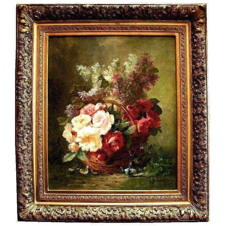 Alphonse Rousseau, Paniere di rose, XIX secolo