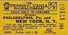 Pennsylvania Railroad -1955 ticket from Philadelphia to New York