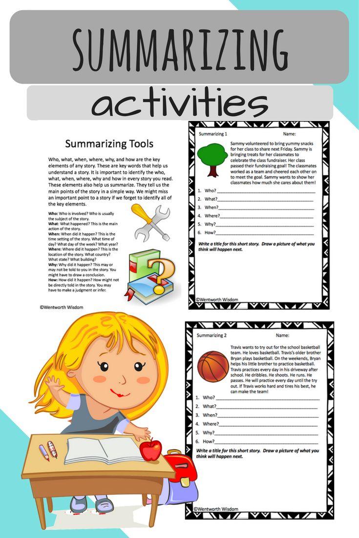 Worksheets Ereading Worksheets Main Idea 25 legjobb a pinteresten kapcsolatban summarizing worksheets writing activities no prep reading literacy