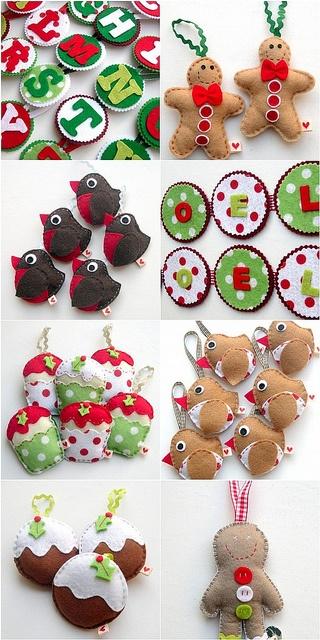 felt ornaments-- loving the birds and tiny puddings