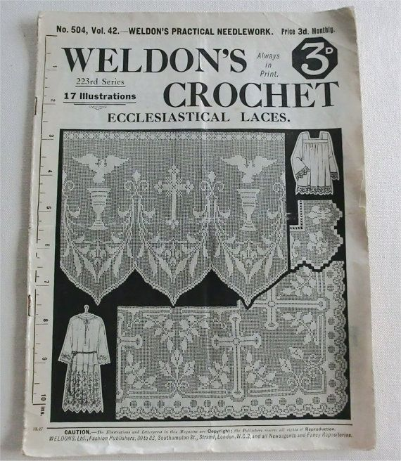1920s Weldon's crochet patterns for ecclesiastical laces