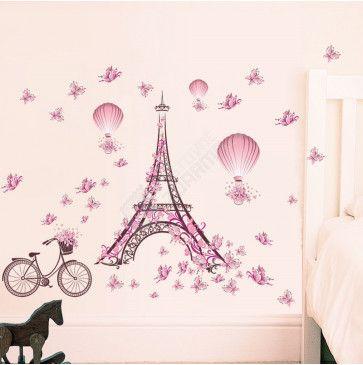 Samolepka na zeď - Romantická Eiffelova věž